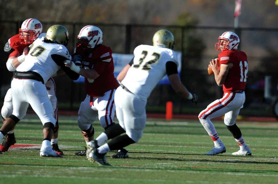 Sacred Heart QB RJ Noel led the NEC last season with 2,477 passing yards and 23 touchdowns. Photo: Autumn Driscoll / Autumn Driscoll / Connecticut Post