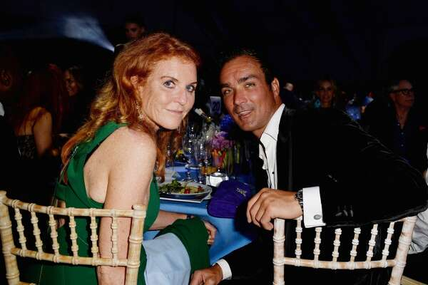 Sarah Ferguson, Duchess of York and Manuel Fernandez attend The Leonardo DiCaprio Foundation 2nd Annual Saint-Tropez Gala at Domaine Bertaud Belieu on July 22, 2015 in Saint-Tropez, France. (Photo by Le Segretain/Hekimian/Getty Images)