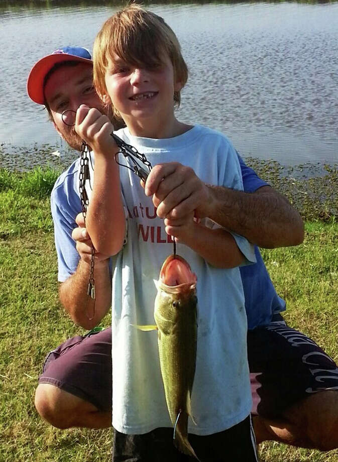 "Keagan, AKA ""Bucky"", says catching these tagged bass are not too hard!"