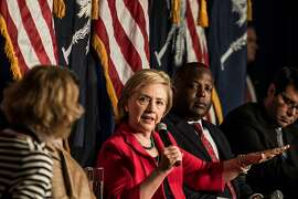 WEST COLUMBIA, SC - JULY 23:  Presidential hopeful and former U.S. Secretary of the State Hillary Clinton meets with mayors and local leaders at Brookland Baptist Church on July 23, 2015 in West Columbia, South Carolina. Clinton's first of two campaign stops in the state today centered on efforts to boost middle class incomes.  (Photo by Sean Rayford/Getty Images)