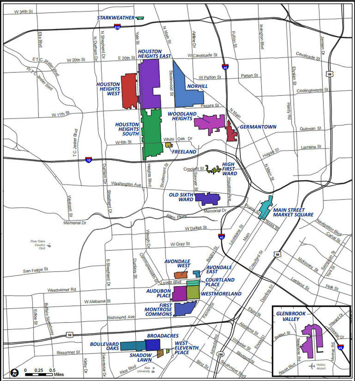 The city of Houston Historic Districts.