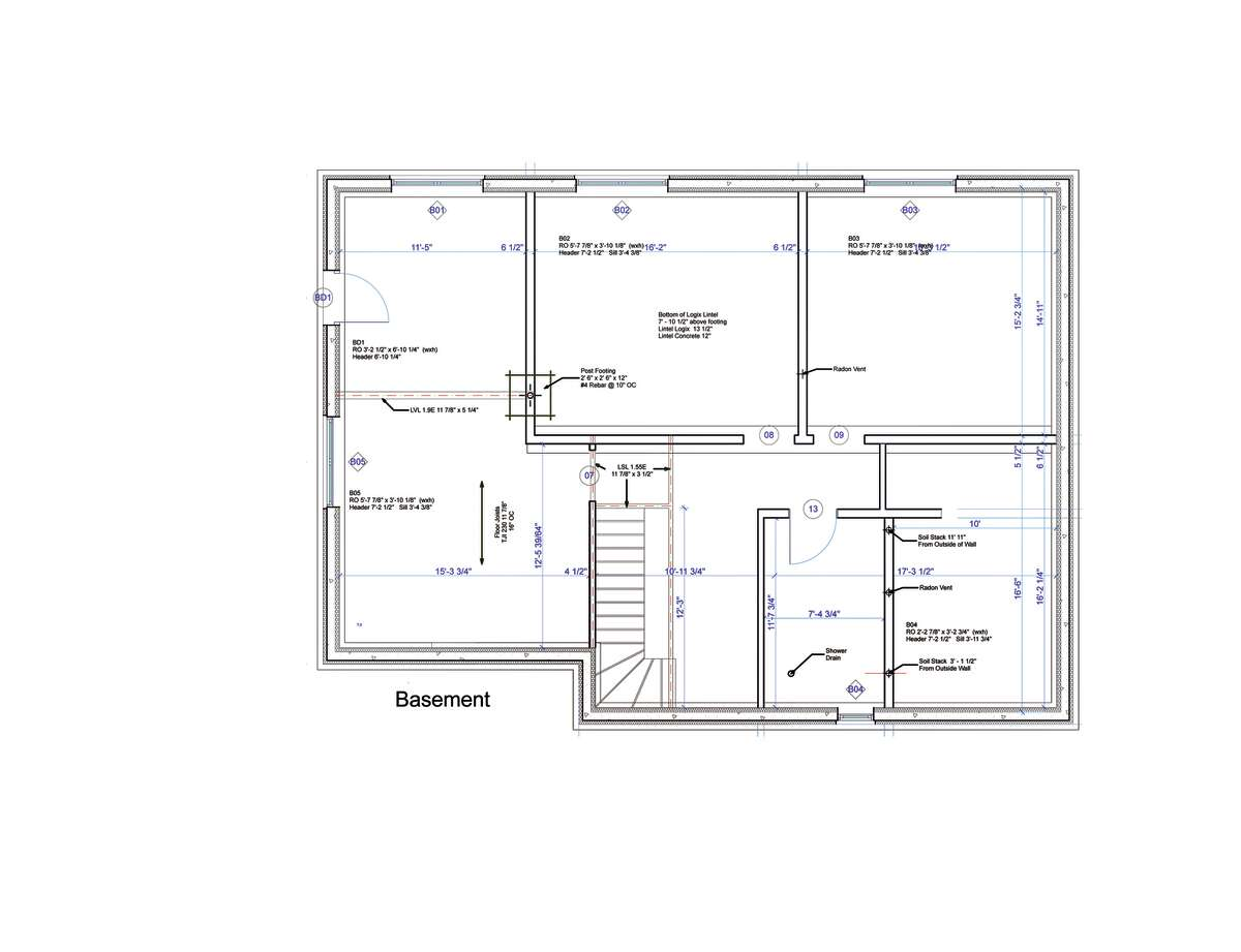 Basement floor plan of a home by Halfmoon Construction Company in Clifton Park specialize in high efficiency and zero energy homes. This particular home is located in Cambridge. (Courtesy Halfmoon Construction Company)