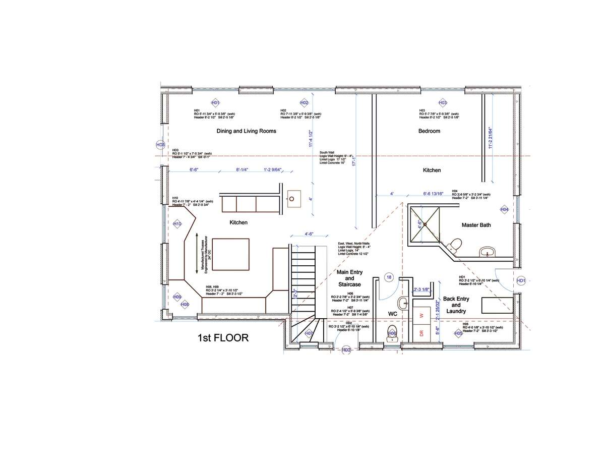 Main floor plan of a home by Halfmoon Construction Company in Clifton Park specialize in high efficiency and zero energy homes. This particular home is located in Cambridge. (Courtesy Halfmoon Construction Company)