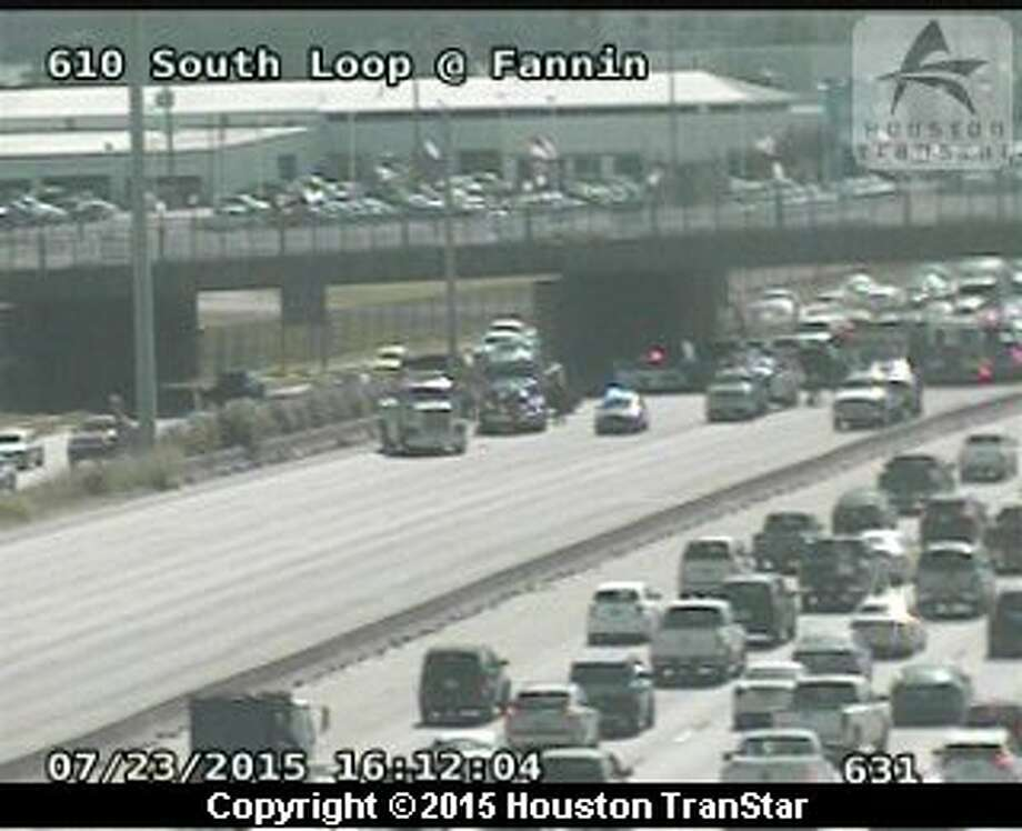 A lost-load accident involving four vehicles tied up the eastbound South Loop at Fannin, July 23, 2015. (TranStar)