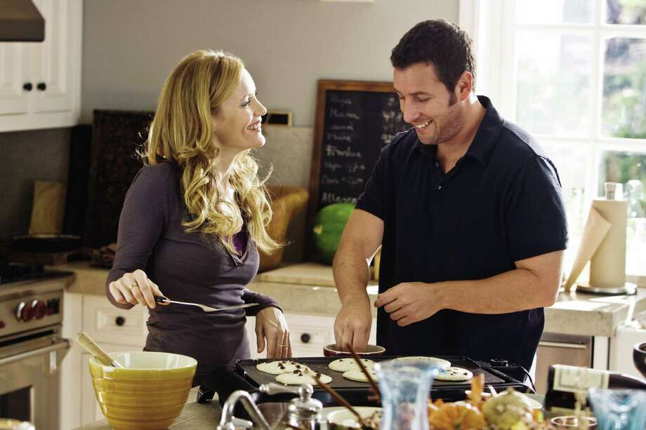 """Photo Credit: Tracy Bennett/Universal Studios Laura (LESLIE MANN) flirts with George (ADAM SANDLER) in writer/director Judd Apatow's third film behind the camera, """"Funny People"""", the story of a famous comedian who has a near-death experience. Photo: Photo Credit: Tracy Bennett"""
