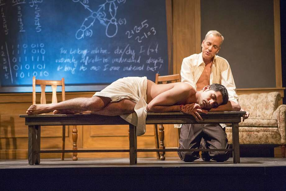 "Heren Patel as Nikos and John Fisher as Turing in ""Breaking the Code: The Alan Turing Story"" at Theatre Rhinoceros. Photo: David Wilson"