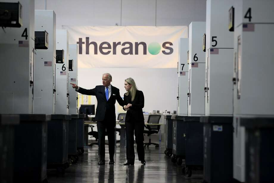 Vice President Joe Biden takes a tour of a Theranos production facility with Elizabeth Holmes, CEO of Theranos, in Newark, California, on Thursday, July 23, 2015. Photo: Connor Radnovich, The Chronicle