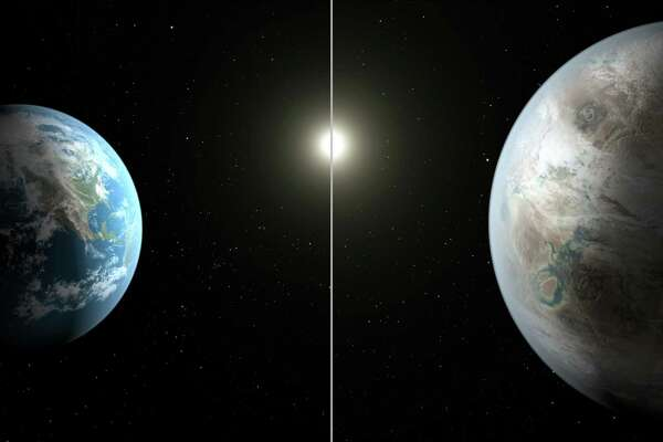 This artist's rendering made available on Thursday comparing Earth, left, and the planet Kepler-452b, which was found using NASA's Kepler telescope.  It is the first near-Earth-size planet orbiting in the habitable zone of a sun-like star, found using data from NASA's Kepler mission. The illustration represents one possible appearance for the exoplanet - scientists do not know whether the it has oceans and continents like Earth. (NASA/Ames/JPL-Caltech/T. Pyle via AP)