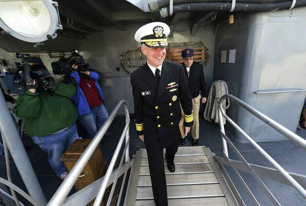 Rear Admiral David Titley tours the USS Slater in Albany, N.Y. April 26, 2012,  as part of the United States Navy's 50/50 Program, an outreach effort that features 50 senior Navy leaders in 50 U.S. cities.   (Skip Dickstein/Times Union archive) Photo: Skip Dickstein / 00017404A