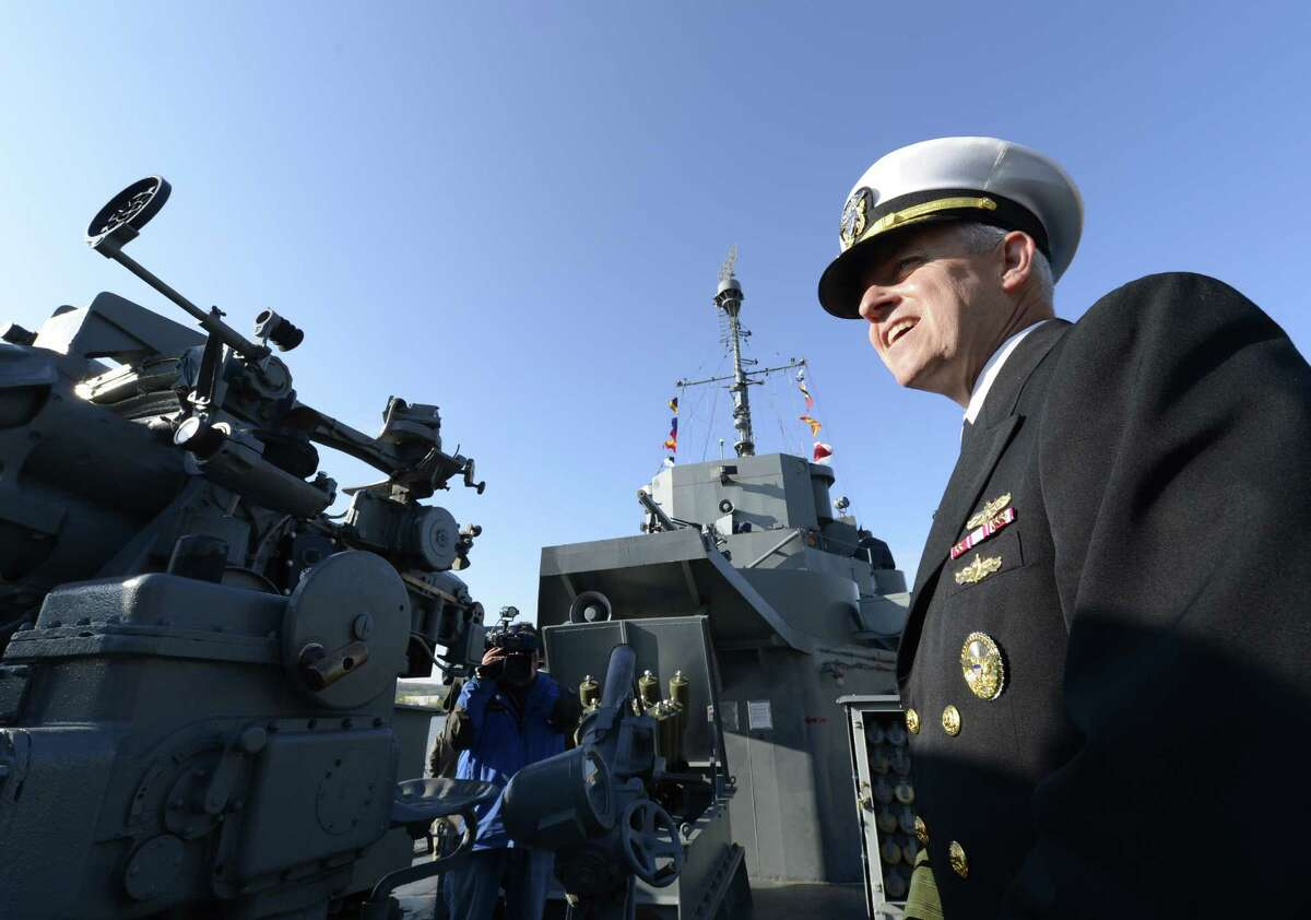 Rear Admiral David Titley tours the USS Slater in Albany, N.Y. April 26, 2012, as part of the United States Navy's 50/50 Program, an outreach effort that features 50 senior Navy leaders in 50 U.S. cities. (Skip Dickstein/Times Union archive)