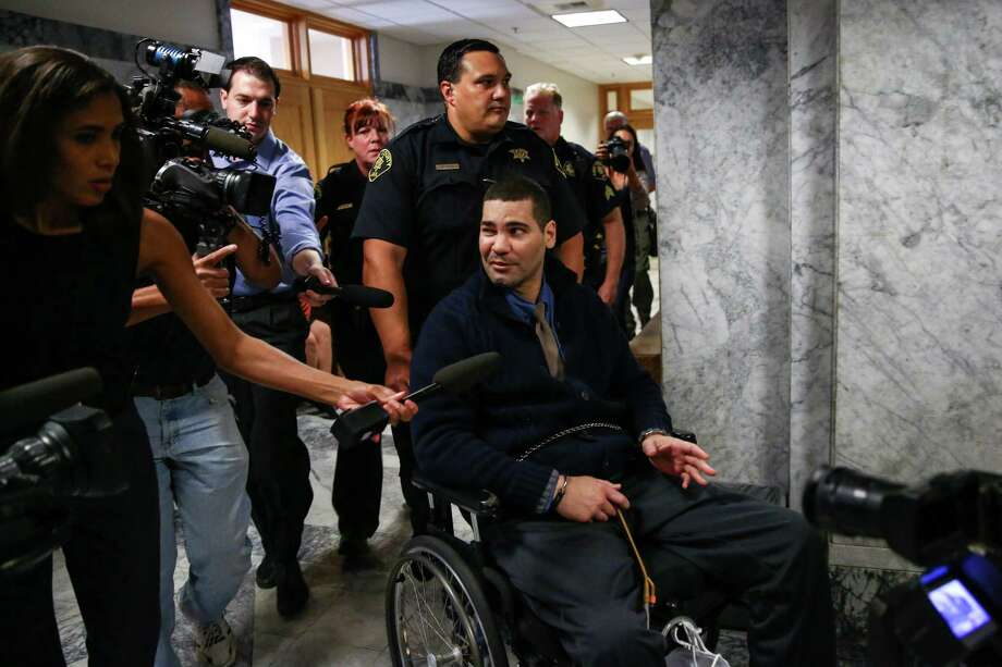 Convicted cop killer Christopher Montfort is wheeled from court after receiving a life sentence for killing Seattle Police officer Timothy Brenton and wounding officer Britt Sweeney. Photographed on Thursday, July 23, 2015. Photo: JOSHUA TRUJILLO, SEATTLEPI.COM / SEATTLEPI.COM