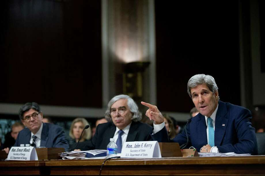 Secretary of State John Kerry (from right), Secretary of Energy Ernest Moniz and Secretary of Treasury Jack Lew will testify again Tuesday before the House Foreign Affairs Committee. Photo: Andrew Harnik /Associated Press / AP
