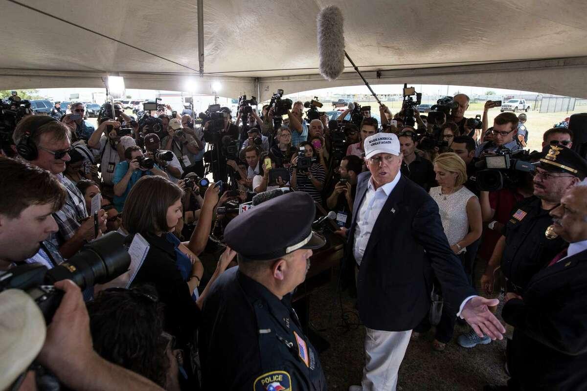 Republican presidential candidate Donald Trump visits the World Trade Bridge, a major crossing over the Rio Grande, in Laredo.