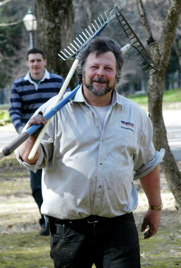 Bill Deak and his fellow volunteers have done yeoman work over the years to maintain and improve Harrybrooke Park in New Milford. Among those joining him on a cleanup day in April, 2015 was Tom Mott, left.