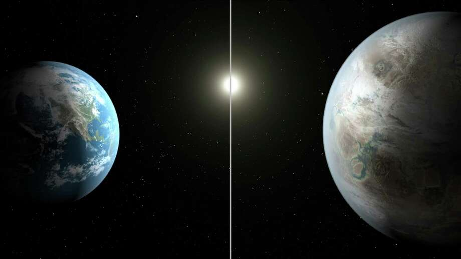 This artist's rendering made available by NASA on Thursday, July 23, 2015 shows a comparison between the Earth, left, and the planet Kepler-452b. It is the first near-Earth-size planet orbiting in the habitable zone of a sun-like star, found using data from NASA's Kepler mission. The illustration represents one possible appearance for the exoplanet - scientists do not know whether the it has oceans and continents like Earth. (NASA/Ames/JPL-Caltech/T. Pyle via AP) ORG XMIT: NY122 Photo: T. Pyle / NASA/Ames/JPL-Caltech
