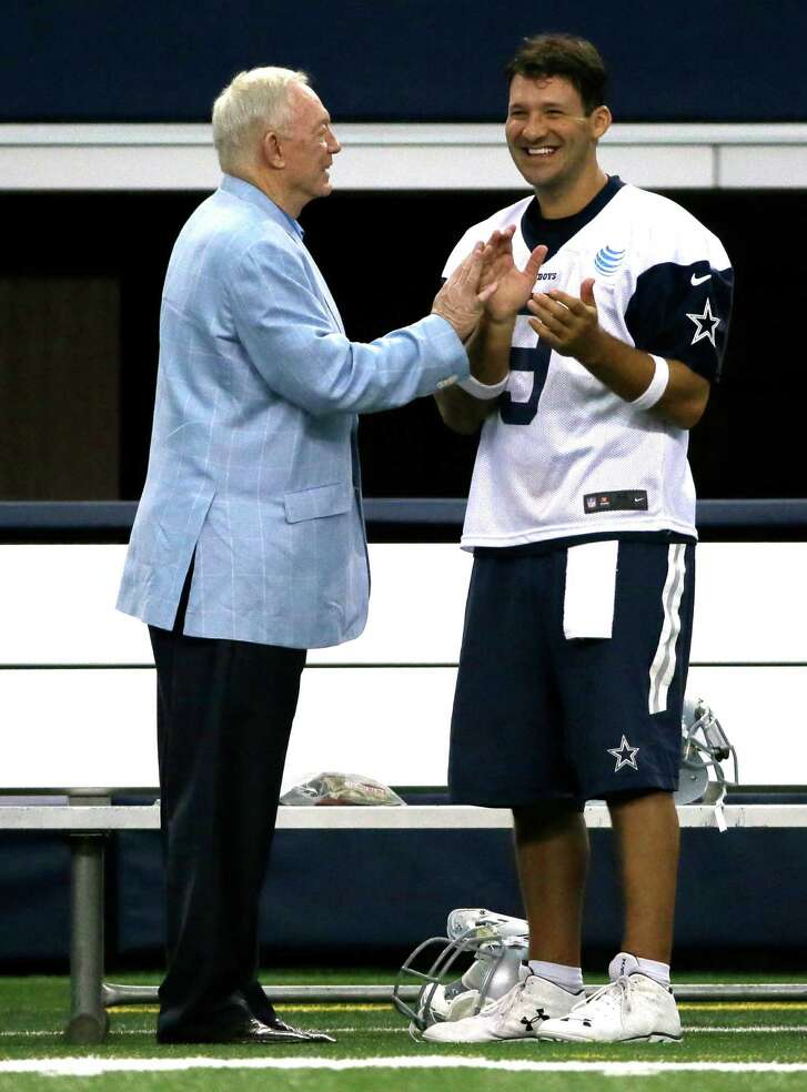 Tony Romo, right, enters his 10th season as starting quarterback of Jerry Jones' Cowboys and has a contract that runs through 2019, when he will be 39 years old.