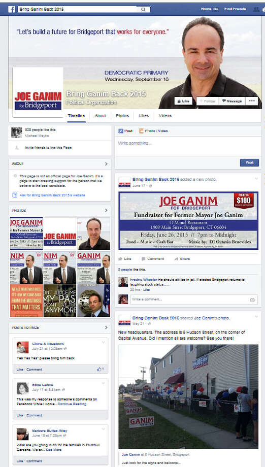 """A screen grab from the Facebook page """"Bring Ganim Back."""" Robert Miller, a city employee, is being investigated for criticizing the administration of Mayor Bill Finch on Ganim's Facebook page. Photo: Contributed Photo / Connecticut Post Contributed"""