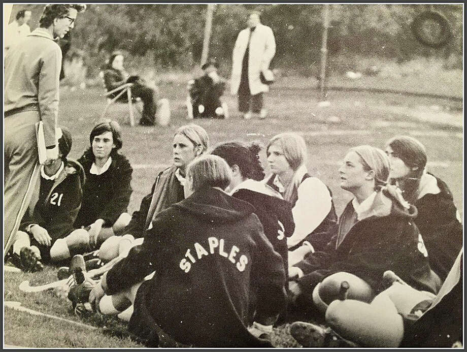 Jinny Parker, left, coaching the field hockey team at Staples High School in 1970. Photo: Contributed / Contributed Photo / Westport News