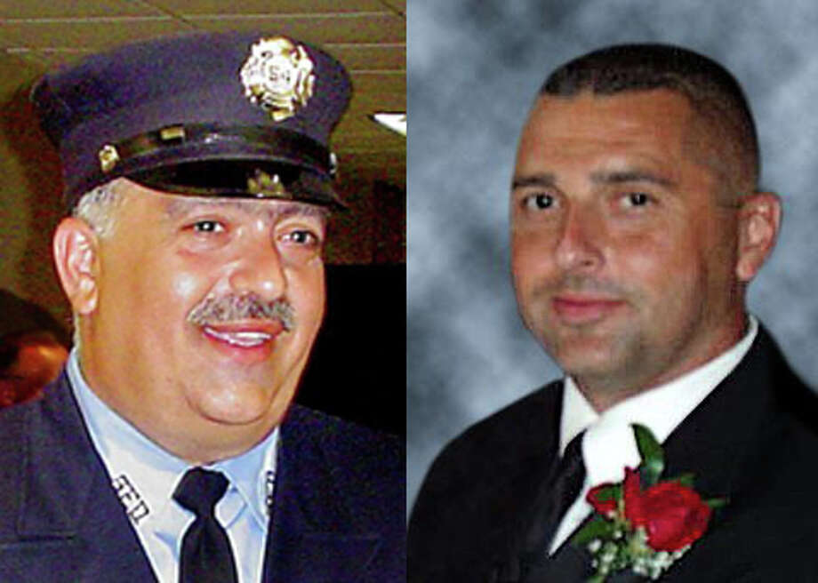 Michel Baik and Lt. Steven Velasquez, firefighters who died in a house fire, were remembered in a ceremony in Bridgeport, Conn. on Friday, July 24, 2015, the fifth anniversary of the tragedy. Photo: Contributed / Hearst Connecticut Media / Connecticut Post Contributed