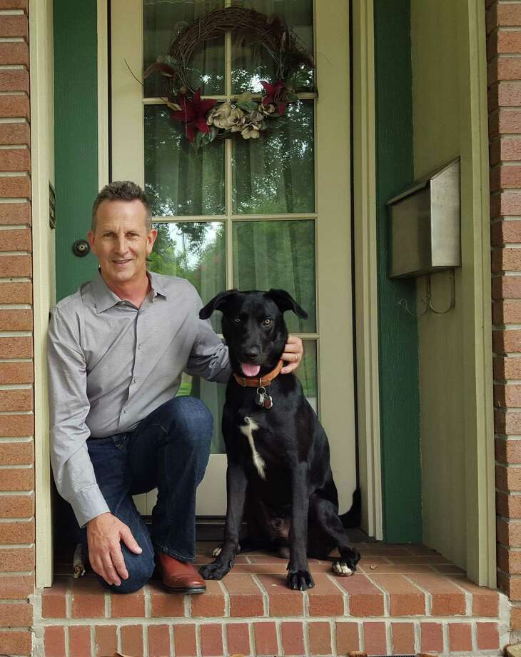 Larry Abbott and a happy pet