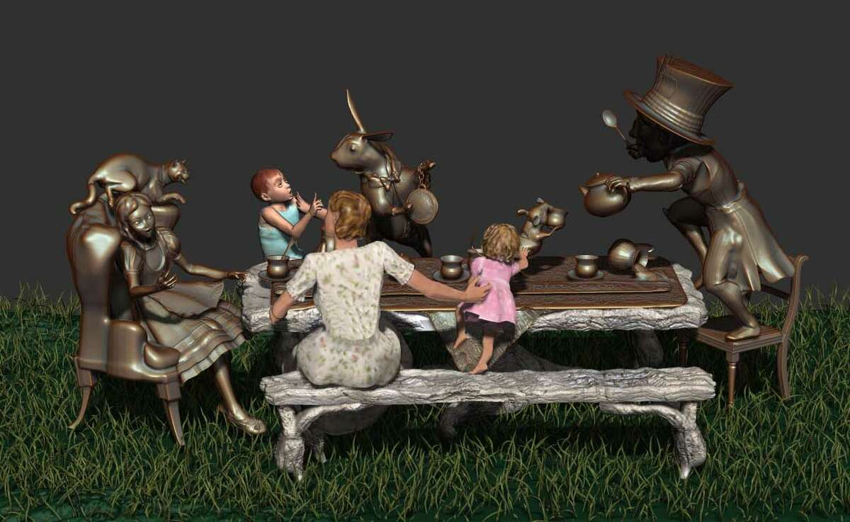 """Houston artist Bridgette Mongeon's interactive sculpture """"Move One Place On,"""" shown as a digital rendering, re-creates the tea party from """"Alice in Wonderland."""""""