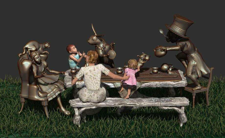 "Houston artist Bridgette Mongeon's interactive sculpture ""Move One Place On,"" shown as a digital rendering, re-creates the tea party from ""Alice in Wonderland."" Photo: Courtesy Of The Artist"