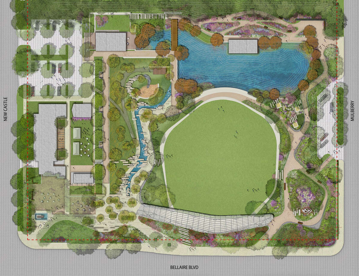A rendering of Evelyn's Park, a new five-acre green space under construction at 4400 Bellaire Boulevard. SWA Group landscape architects have designed the park, which will have several structures by Lake|Flato architects.