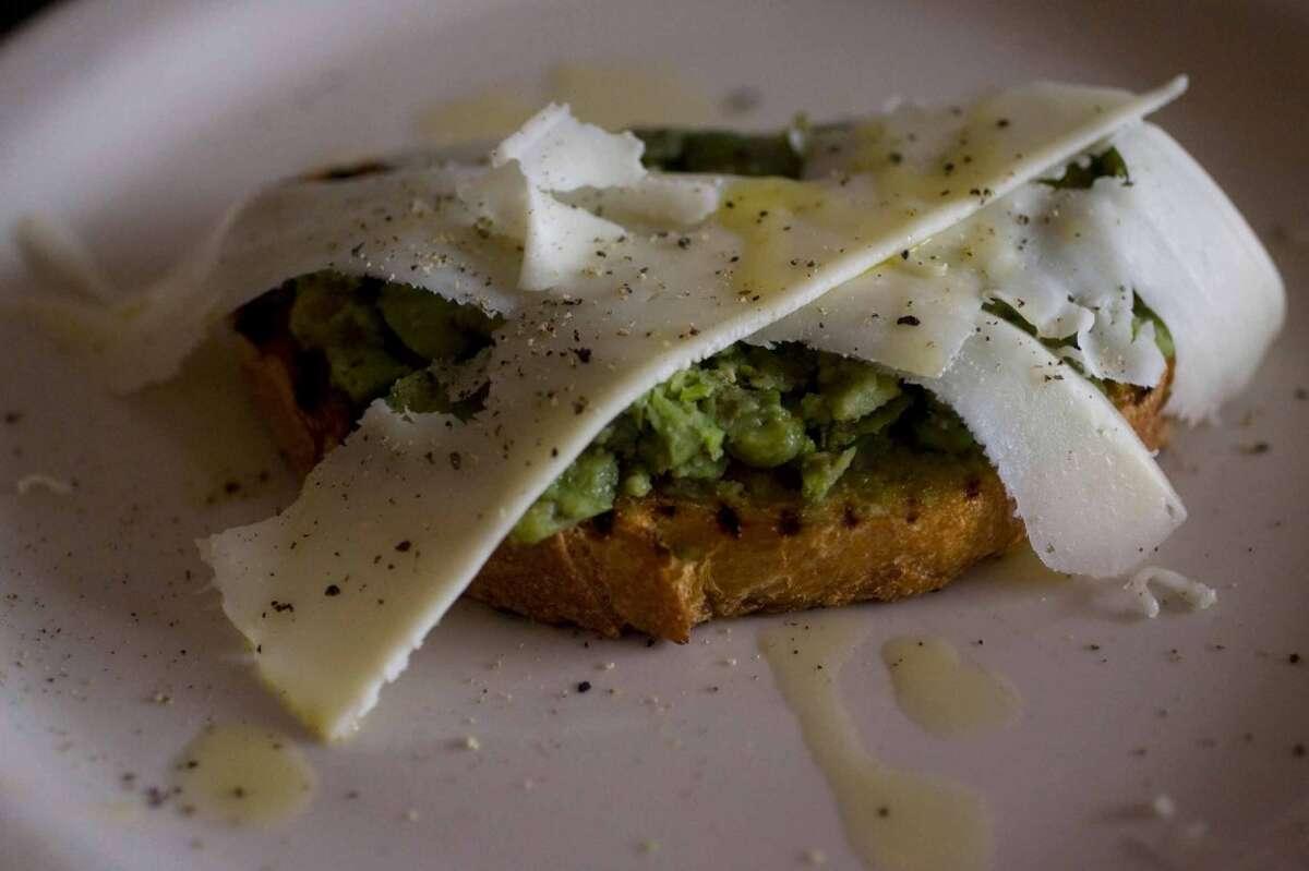 Bruschette with fava beans and pecorino at Vinoteca Poscol