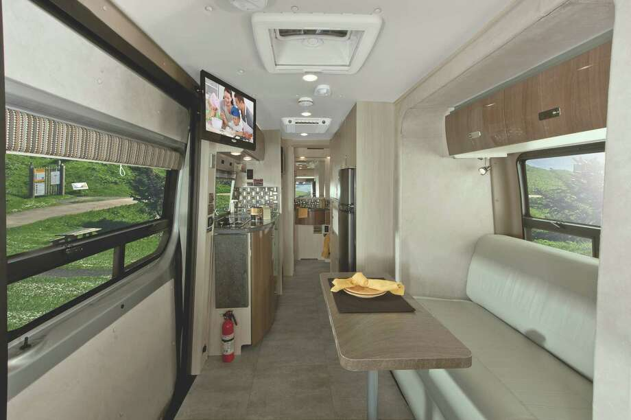 This interior shot of the Winnebago Sprinter shows the uplevel materials and airy feel to living quarters of the Era platform. Photo: Winnebago