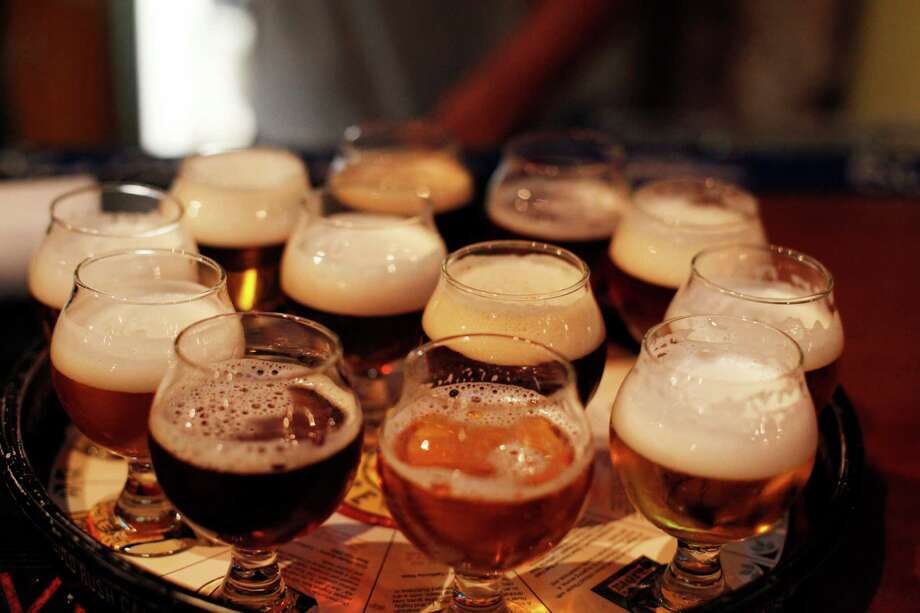 A flight of beers at Auburn Alehouse. Photo: Pete Kiehart / The Chronicle / ONLINE_YES