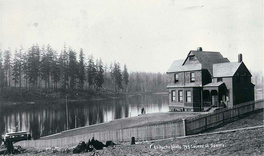 "A photo of the home in 1891. The original caption reads, ""South end of Green Lake with a trolley car of the Green Lake Electric Railway Company, Seattle, Wash.""  University of Washington Digital Archives"