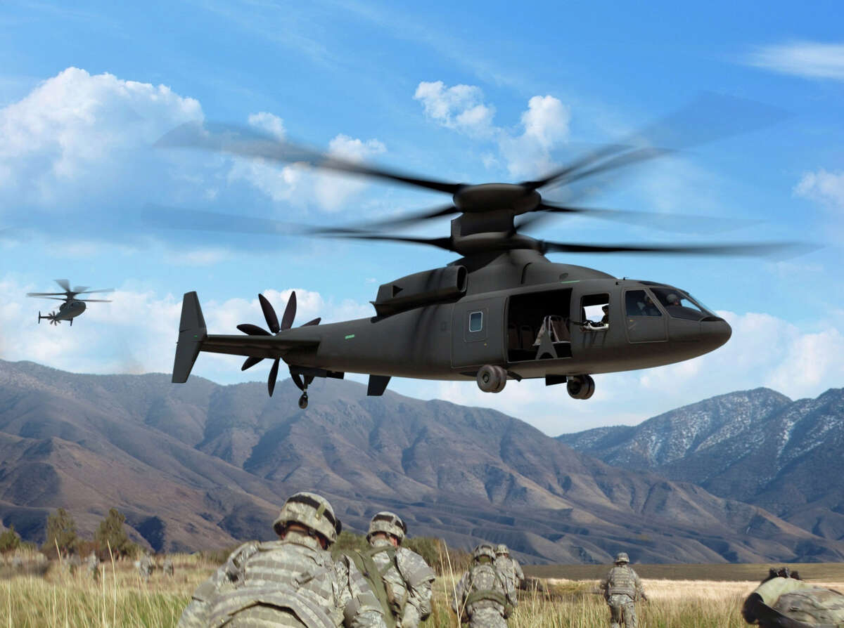 Sikorsky is teaming with Boeing to offer the U.S. Department of Defense the SB-1 Defiant, shown in this rendering published by subcontractor Swift Engineering, as part of a Pentagon competition to develop a new class of fast rotor craft.