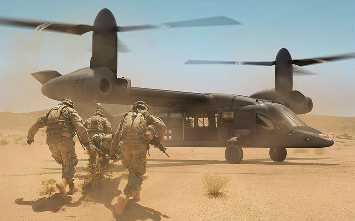 Textron and subsidiary Bell Helicopter are developing the tilt-rotor Bell V-280, depicted in this rendering published by Bell, as a future replacement for Black Hawk helicopters when they reach the end of their lifecycle, with the Pentagon also considering the SB-1 Defiant prototype designed by Sikorsky Aircraft and Boeing.