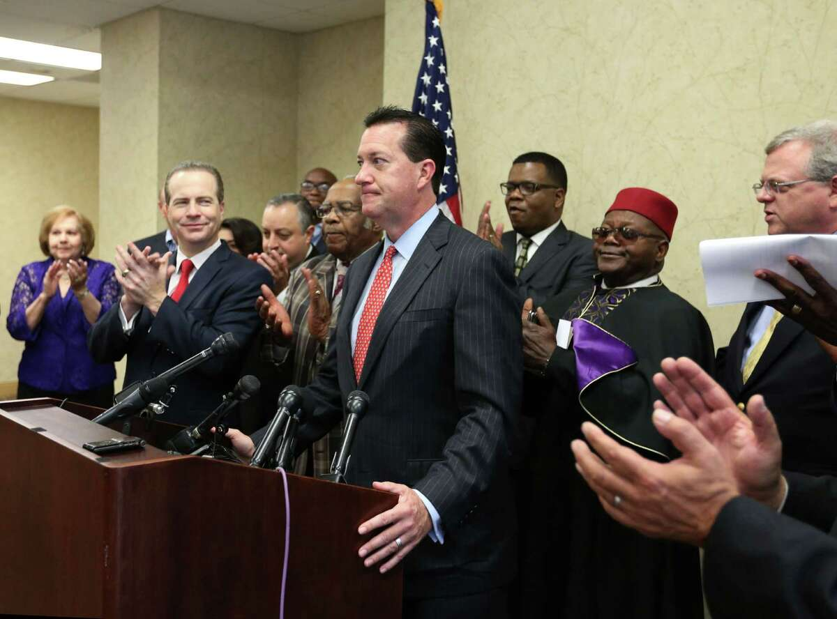 Andy Taylor speaks during a press conference celebrating the Texas Supreme Court's suspension of the HERO ordinance Friday, July 24, 2015, in Houston. The decision will force city council to consider a repeal, or place the issue on the ballot in November.