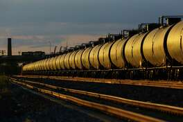 An oil train is shown in Seattle on Wednesday, July 15, 2015. The highly controversial trains haul rail cars loaded with oil brought from the oil fields of North Dakota and Montana.