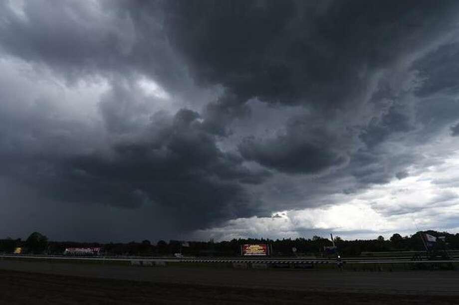 An ominous sky above Saratoga Race Course on Friday, July 24, 2015, delayed racing. (Skip Dickstein/Times Union)