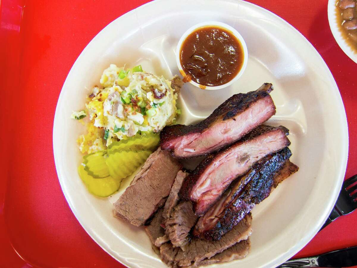 The two-meat plate at Hinze's Bar-B-Q in Wharton. Hinze's Bar-B-Q