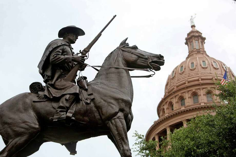 A monument to the 8th Texas Cavalry, popularly known as Terry's Texas Rangers, is among a dozen Confederate memorials on Capitol grounds.     ( Gary Coronado / Houston Chronicle ) Photo: Gary Coronado, Staff / © 2015 Houston Chronicle