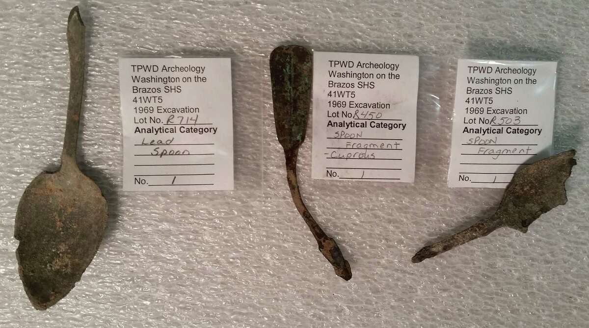 These spoon fragments were excavated in 1969.