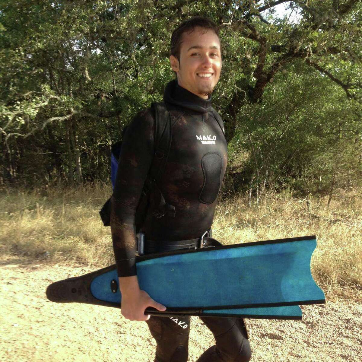 Free diving is exactly what it sounds like, diving free of any supplemental oxygen other than one's own lungs. His multiple plunges into the Jacob's Well has made him an expert at what has been called