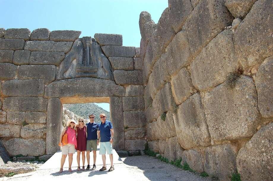 Michele, Katie, Gregory & Rick Gandolfo, of San Francisco, at Lions Gate, Ancient Mycenae, Greece. Photo: Michele Gandolfo