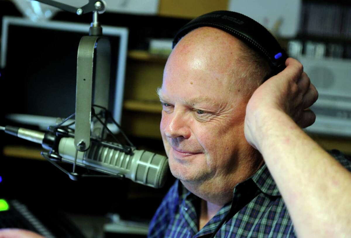 """Music Director Howard Thompson hosts his show """"Pure"""" on WPKN 89.5 Friday, July 17, 2015, at their studio on the campus of the University of Bridgeport."""