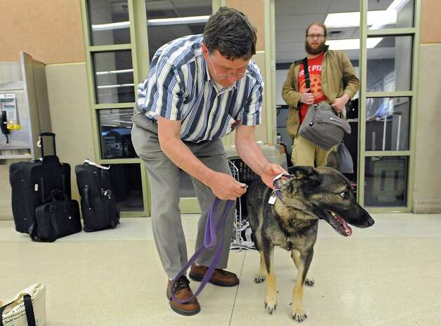 Tim Sheard of Oregon, left, lets Freya the dog out of his carrier after he and his son Caleb Sheard arrive at the Albany International Airport on Thursday, July 24, 2015 in Albany, N.Y. The father, son and dog were traveling to a summer place in upstate New York. (Lori Van Buren / Times Union) Photo: Lori Van Buren / 00032748A