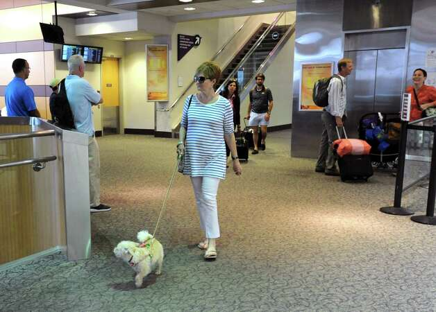 A woman arrives at the Albany International Airport with her dog on Thursday, July 24, 2015 in Albany, N.Y. (Lori Van Buren / Times Union) Photo: Lori Van Buren / 00032748A