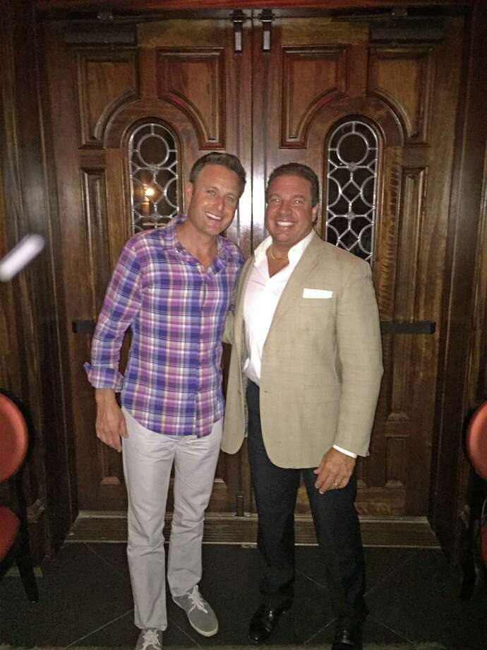 TV personality Chris Harrison with Danny Gabriele at Gabriele's Italian Steakhouse in Greenwich on Wednesday night. Photo: Contributed / Contributed Photo / Greenwich Time Contributed