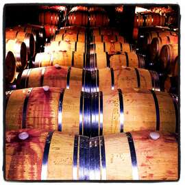 Barrels of primo Hess Collection vino during and FDS patrons dinner. July 2015.