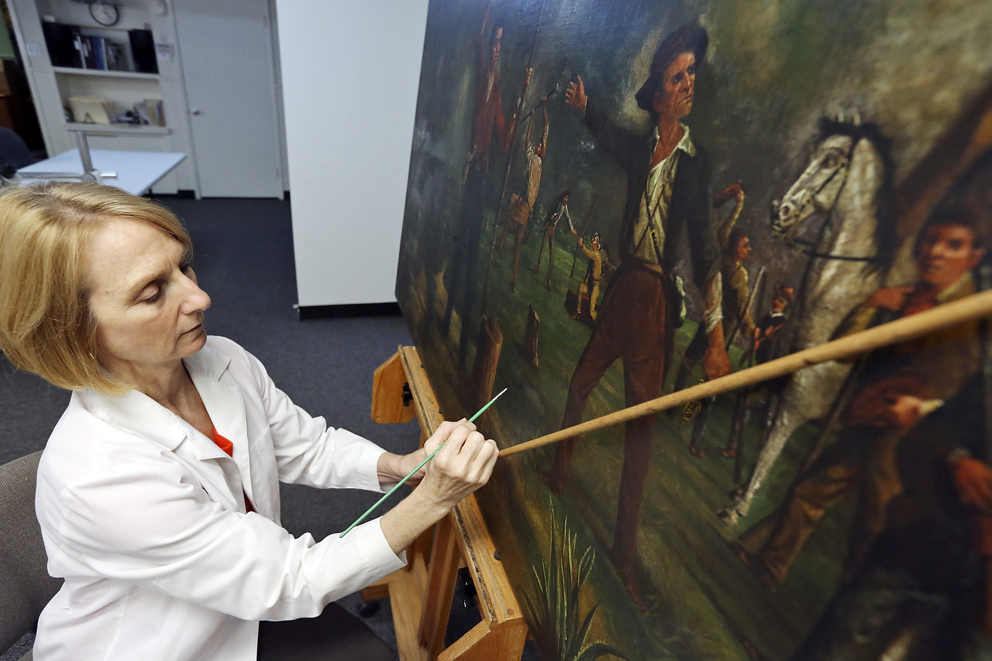 Restoration of alamo painting completed houston chronicle for Wine and paint san antonio