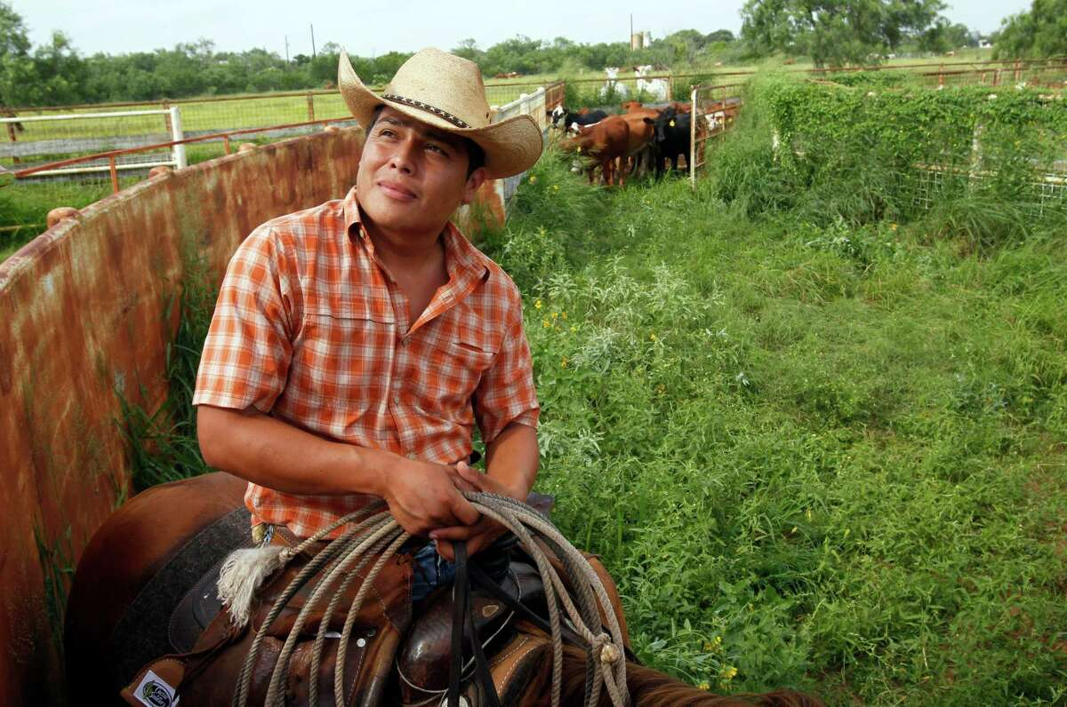 Ruben De Leon, 28,works the same land on McAllen Ranch that was worked by his father.