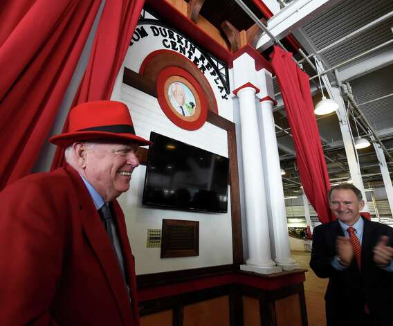 Former Track announcer Tom Durkin smiles broadly as the Tom Durkin Replay Center is dedicated this morning Friday July 24, 2015  at the Saratoga Race Course in Saratoga Springs, N.Y.   (Skip Dickstein/Times Union) Photo: SKIP DICKSTEIN