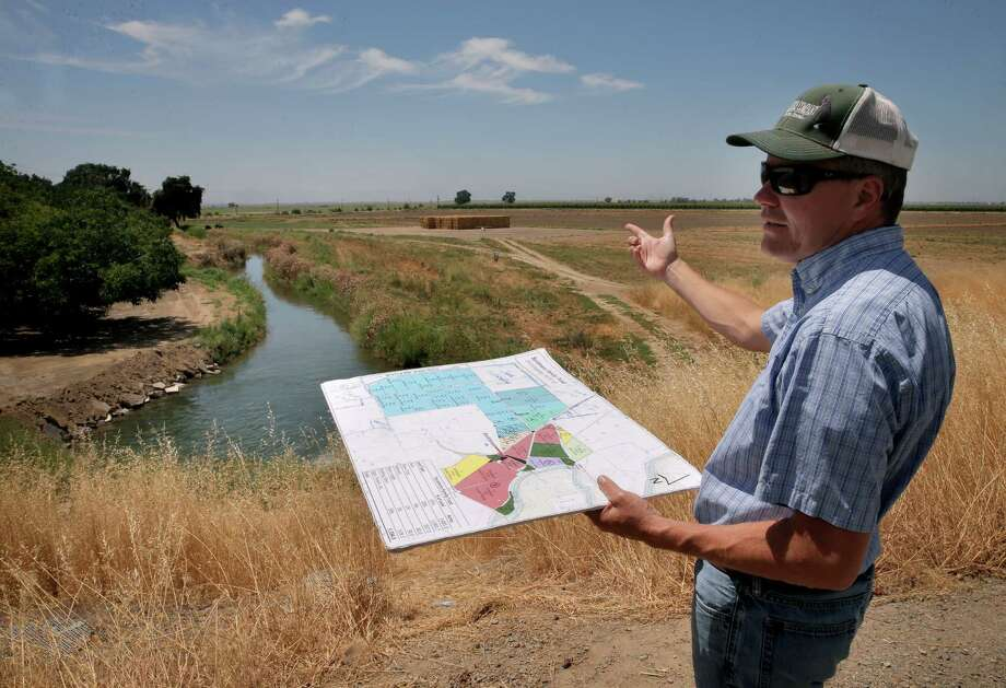 Rice farmer and consultant John Brennan, manager of the Davis Ranches, points out plantings along the Sycamore Slough, which carries water from the Sacramento River. Photo: Michael Macor / Michael Macor / The Chronicle / ONLINE_YES